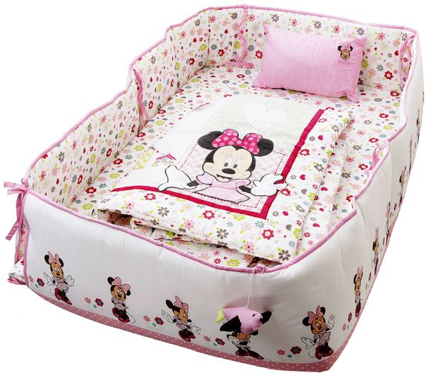 Disney Minnie Mouse Printed Baby Bedding 4 Piece Set, Pink ...