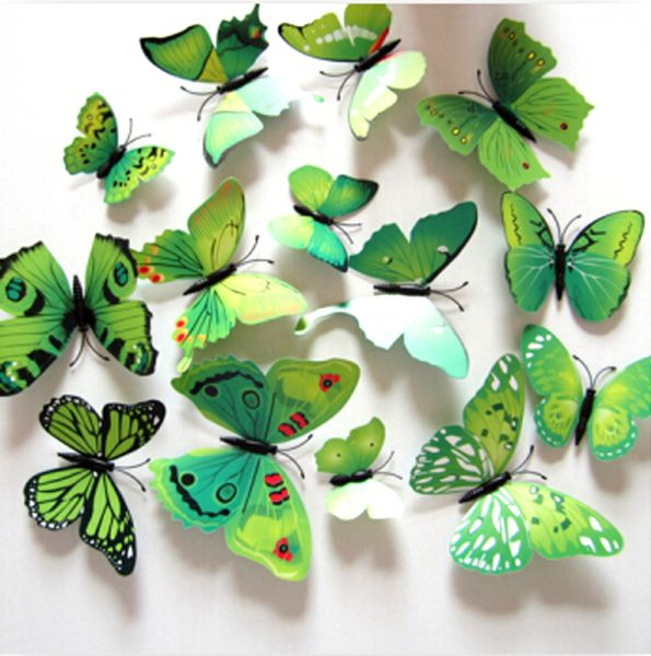 3D Butterflies Wall Decoration   Green