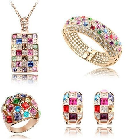 Buy Austrian Swarovski Crystal 14K Rose Gold Jewelry Set 4 Piece