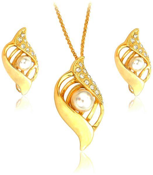 Buy 22K Gold Plated Pearl and Rhinestone Jewelry Set 2 Piece
