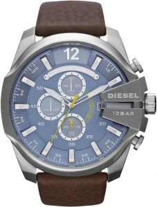 1d54adc6f94 Diesel Master Chief Men s Blue Dial Leather Band Chronograph Watch - DZ4281