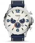 Fossil Nate For Men White Dial Leather Band Chronograph Watch - JR1480 (Watch)