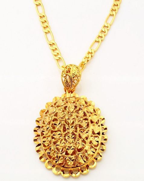 Buy 18k real gold plated choker oval big pendant with necklace set 7900 aed aloadofball Choice Image