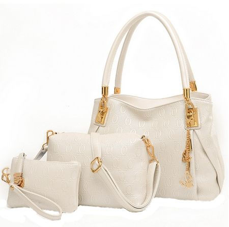 Tote Bag With 2 Pouch Set For Women White