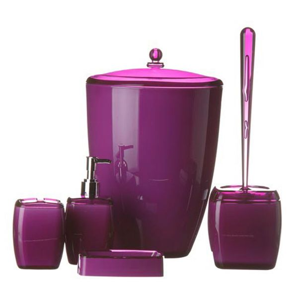 Karin acrylic 5 piece bathroom accessories set purple price review and buy in dubai abu - Bathroom accessories dubai ...