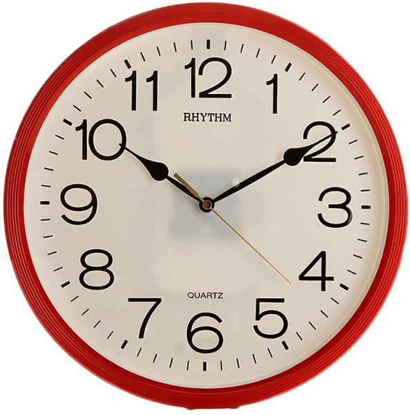 Rhythm Round Wall Clock Red CMG734NR0 price review and buy in