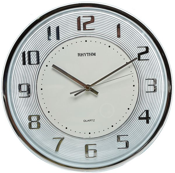 Rhythm Round Wall Clock Silver Cmg853nr1 price review and buy