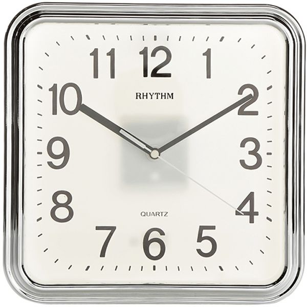 Rhythm Square Wall Clock Silver Cmg466nr1 price review and buy