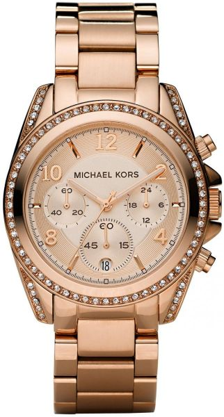 Michael Kors Women s Rose Gold Dial Stainles Steel Band Watch ... 188f5a275