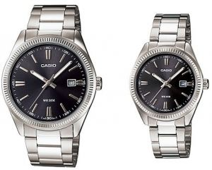 388d7c9cf46f1 Casio His and Hers Stainless Steel Black Dial Analog Couple Watch Set   MTP LTP-1302D-1A1V
