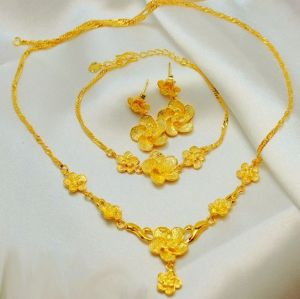 Buy 24k Gold Plated Flower Design Jewelry Set 3 Pieces