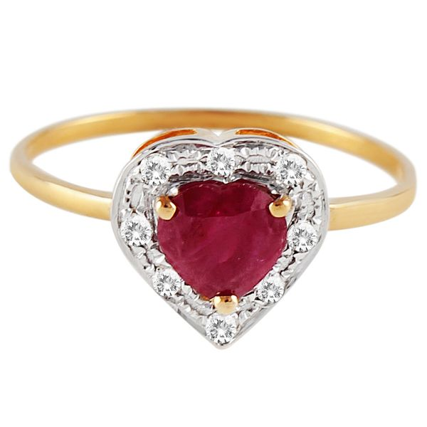 Buy Vera Perla 18K Solid Gold 0 08ct Genuine Diamond 0 6ct Ruby