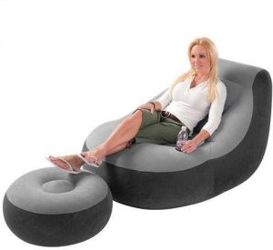 Intex Inflatable Sofa With Footrest Chair Flocked 68564