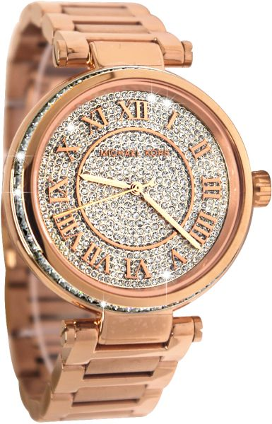 90b52561ec86 Details about NEW MICHAEL KORS SKYLAR ROSE GOLD TONE+PAVE CRYSTALS DIAL