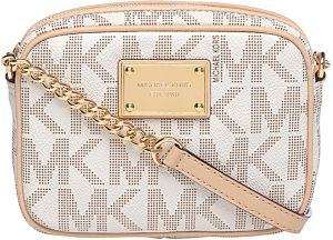 1dc56d0c0f8704 Michael Kors 32F1GJSC1B-150 Jet Set Monogram Logo Crossbody Bag for Women -  PVC, Vanilla