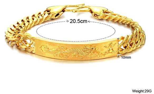 New Fashion 18k Real Gold Plated Exquisite Dragon Crafted Men S Bracelet Bangle