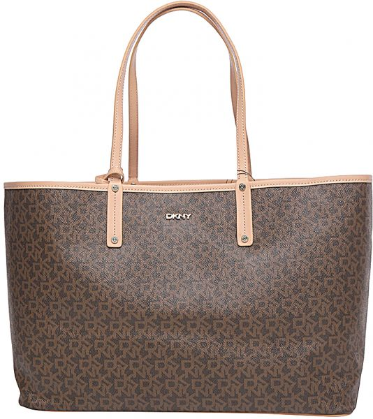 DKNY R1514201 Heritage Monogram Logo Tote Bag for Women - Brown ...