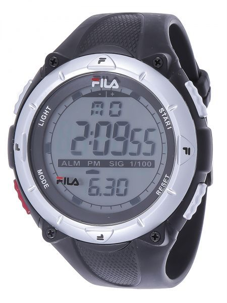 Buy fila for men digital dial rubber band watch fa1020 black silver watches uae souq for Fila watches