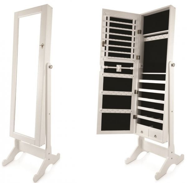 Full Length Jewelry Cabinet With Mirror White