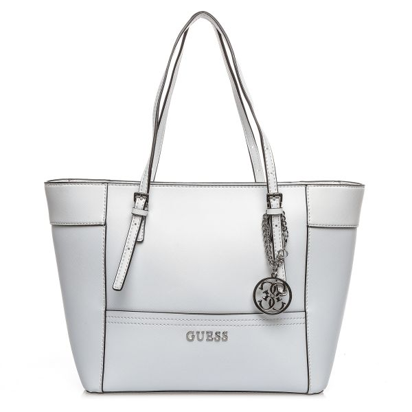 Guess EY453522 Delaney Small Classic Tote Bag for Women - White ... af3650c444dc4
