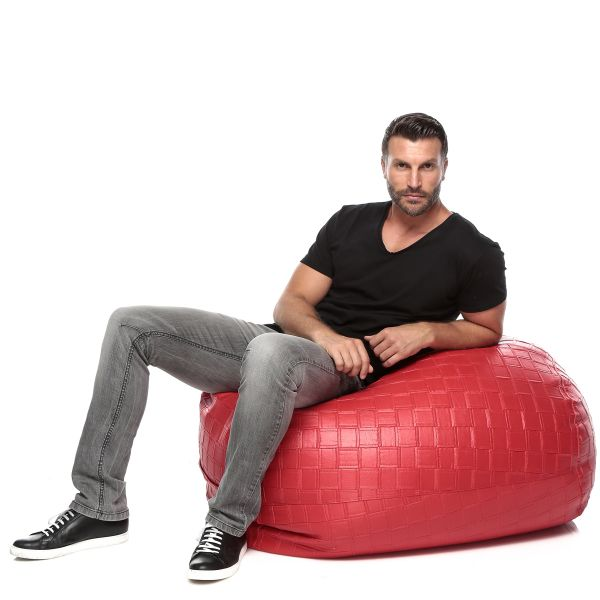 Ibed Home Solid Leather Bean Bag Red