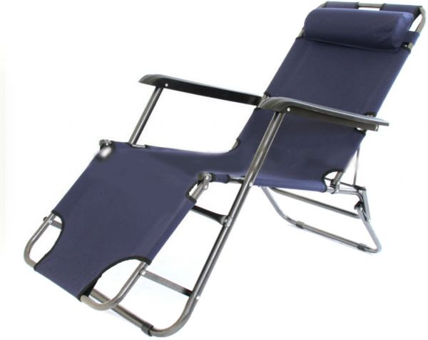 2 In1 Picnic And Camping Foldable Bed, Chair  Dark Blue
