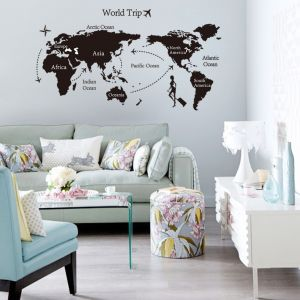 Sale on world map buy world map online at best price in dubai removable wall sticker world map travel gumiabroncs Image collections
