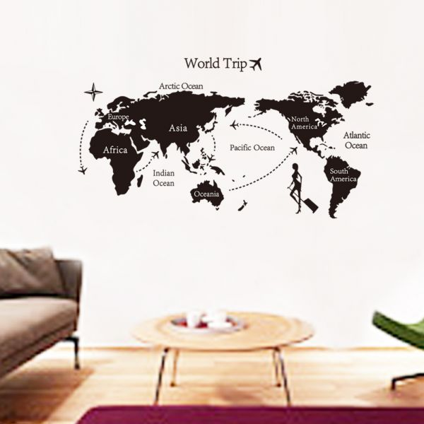 Souq removable wall sticker world map travel bahrain removable wall sticker world map travel gumiabroncs Image collections