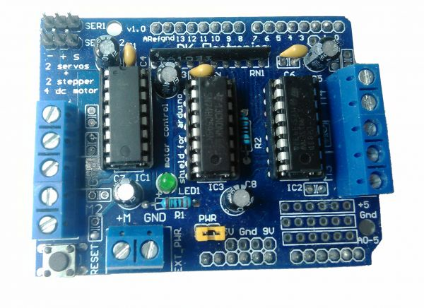 Arduino motor shield 4 channel l293d h bridge dc motor for Stepping motors and their microprocessor controls