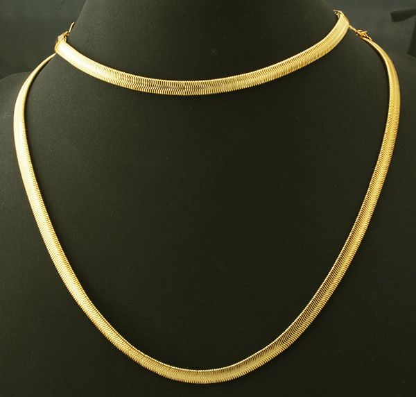 18k Real Gold Plated Men S Chunky Snake Chain Necklace