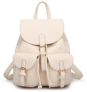 Stylish litchi leather women s backpack lady shoulder bag backpack for women  QM61 Off white ba1aef110d