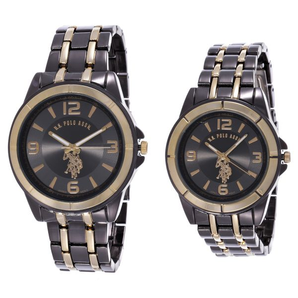 u s polo assn his s black stainless steel