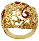 Golden Essentials 22K Gold Plated  Swirl Design Ring Size US 6 with CZ (Ring)