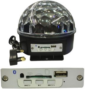 RGB-LED Crystal Magic Ball Stage Light with MP3 Player, USB/SD/Bluetoo...