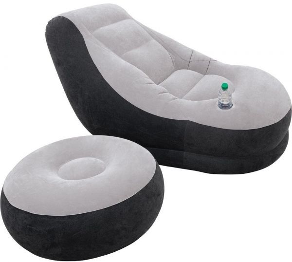 Intex Inflatable Sofa With Footrest, Black And Gray [68564]