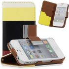 Leather Hybrid PU Wallet Flip Pouch Stand Case Cover for iPhone4 4S (Mobile Phone Accessories)
