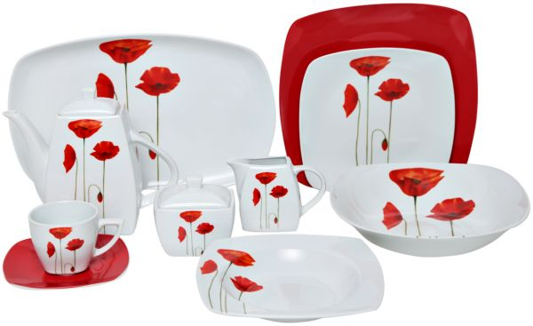 Flamingo Red Floral Porcelain Dinnerware, Set Of 37 Piece