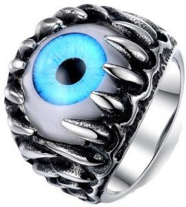 Titanium Steel Individual Overstate Blue Eyeball Style Fashion Ring fo...