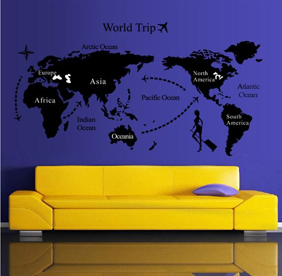 Removable wall sticker world map price review and buy in dubai removable wall sticker world map gumiabroncs Images