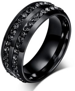 Titanium Steel Individual Black Diamond Fashion Cool Men Ring for Male...