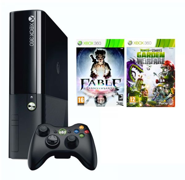 Microsoft Xbox 360 500gb Black Bundle With 2 Plants Vs Zombies Garden Warfare Fable Anniversary