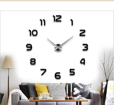 Large DIY Quartz 3D Wall Clock Acrylic Sticker Wall Clock Black