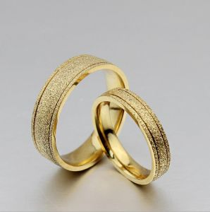 Buy 18K Gold Plated Titanium Steel Dull Polish Wedding Love Couple
