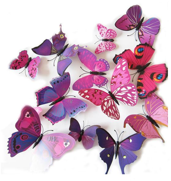 Set 12pcs 3D Mix Colour Butterfly Wall Stickers Decoration