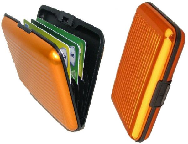 Aluminum Metal Business ID Credit Card Holder Pocket Travel Wallet Case - Orange