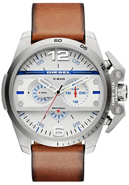 f85ea3453 Diesel Ironside Men's Silver Dial Leather Band Chronograph Watch - DZ4365