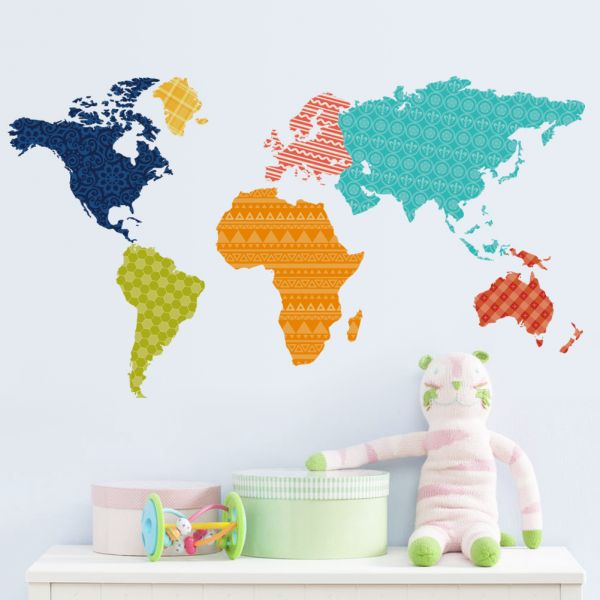 Removable Wall Sticker Pattern World Map price review and buy in