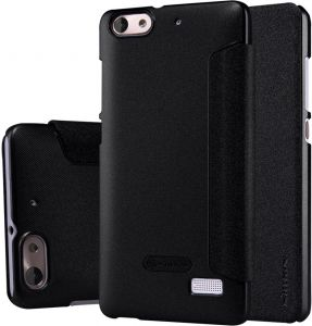 Nilkin Huawei Honor 4C Sparkle Leather Cover With Screen Protector -Black