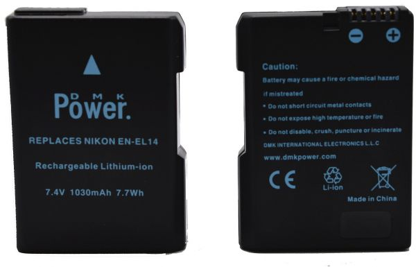 2 Pcs Dmk En El14 Batteries For Nikon D3100 D3200 D5100 D5200 D5300