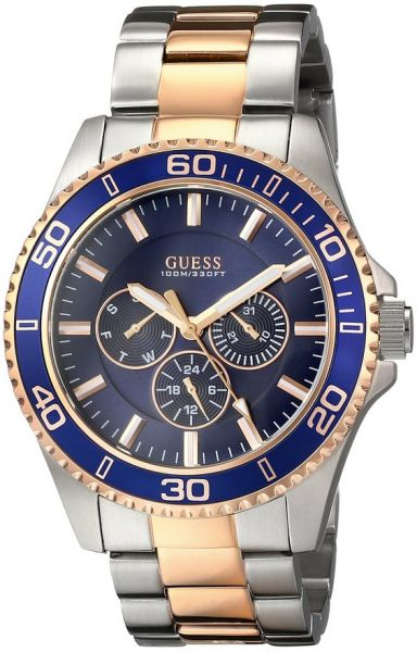 on guess watches men buy guess watches men online at best guess men u0172g3 two tone rose gold tone watch blue mutli function dial